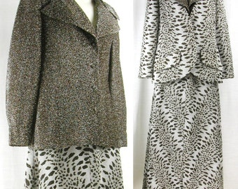 Vtg ~FRED ROTHCHILD~  3 Piece Maxi Set – Bronze Metallic Lurex Animal Print LV Maxi Hostess Dress