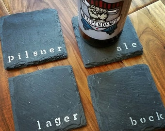 4 Beer Slate Coasters - Man Cave, Garage, Fathers Day, Valentines Day