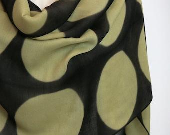 Tan Black Circles Scarf Large Shibori Shawl on Wool/Silk