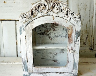 Distressed cabinet display wall hanging French farmhouse ornate chippy painted shelf glass door shabby cottage chic decor anita spero design