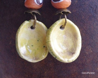 Africa earrings, Inverted Dome, Cup jewelry, Round Ceramic Dangle Earrings, Cup Dangles, Cupper Jewlery, Domed Cup, Dapped Cup