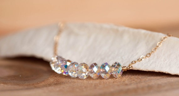 Dainty Crystal Bar Necklace, Crystal Necklace, Swarovski Crystal Necklace, Bridal Gemstone Necklace, Bridal Necklace, Crystal Bar Necklace