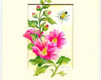 "Original miniature Watercolor artwork by Sandra Frantz ""Hollyhocks & Bee"" Matted to 5x7"