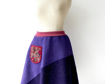 purple vintage kantha quilt skirt with flexible waist, size medium