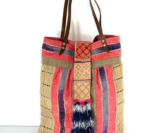 vintage aso oke bag, large african tote, african shopper, tribal bag, ethnic bag, ooak