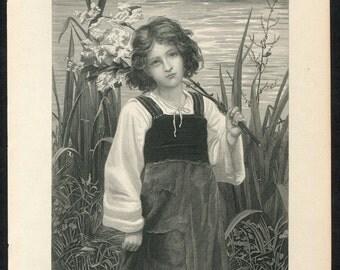 Meadow Sweet - Girl with Wildflowers - 1888 Illman Bros steel engraving vintage print