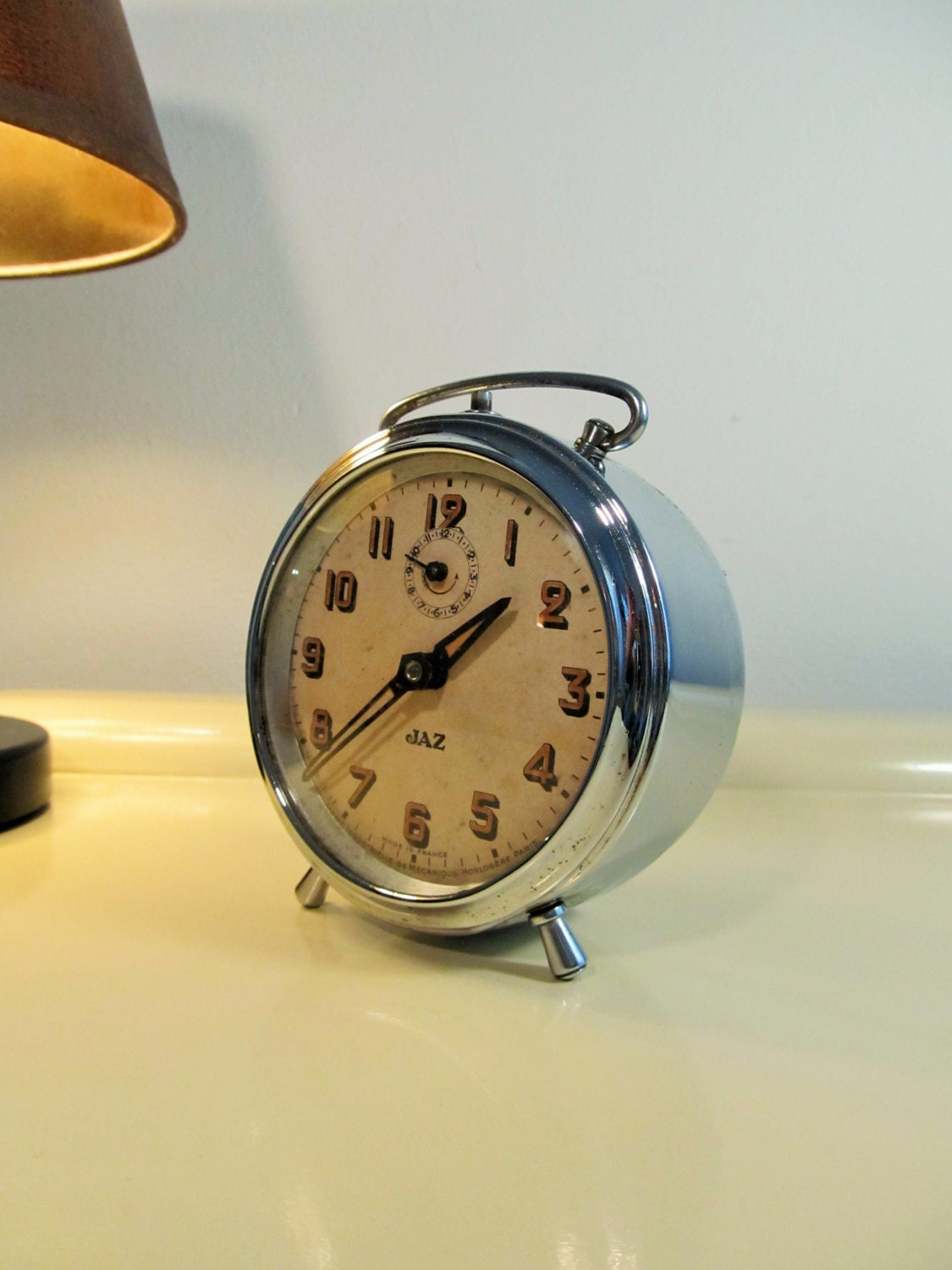 Vintage Alarm Clock Jaz Brand Chrome Made In France 1930s