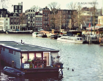 Canal Boat Photography, Amsterdam Art, Landscape Wall Art, Boat Wall Decor, Large Wall Print, Travel Art, Landscape Print