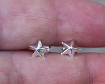 Vintage 925 Sterling Silver Star Stud Earrings