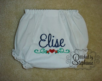 Monogrammed baby bloomers navy name red heart border Valentine's Day diaper cover eyelet ruffle panties embroidered personalized