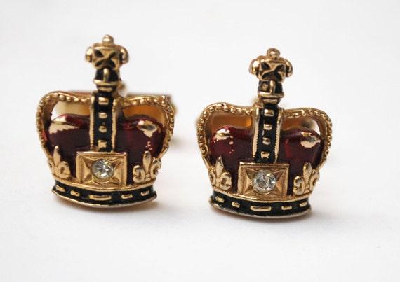 Swank Crown Cuff links - Red clear Rhinestone - Gold - Heraldic -Cufflinks