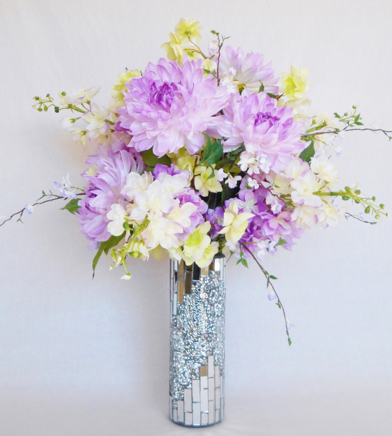 Silk Flower Arrangement Pink with Lavender by BeautyEverlasting