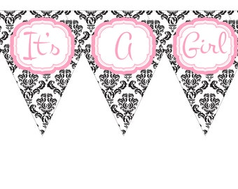 Its a Girl Panda Baby Shower Banner Only- Printable File