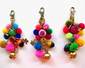 Flower Keychain 10pcs Wholesale Pom pom Flower with Embroidered Fabric Circle  Complete with Brass Beads, Charms and Genuine Colored Stones