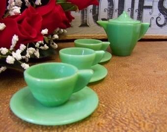 Vintage Akro Agate Jadeite Child Tea Party Set, Toy Tea Set for Children, Miniature Serving Set