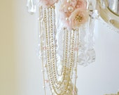 Gorgeous Handmade Ribbon Work Necklace by Jennelise Rose / Handmade Flowers / Pearl Necklace