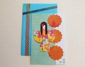 Chiyogami Paper Card - Origami Greeting Card - Japanese Paper Card - Handmade Greeting - Yuzen Paper Card - Blank Inside - Blue Orange