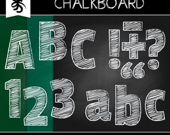 Digital Clipart-Chalk Alphabet-Chalkboard Background-Numbers-Alphas-Scrapbook Letters-Greeting Cards-Invitations-Instant Download Clip Art