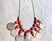 70s Silver Hippie Ethnic Necklace with Coins and Coral Beads