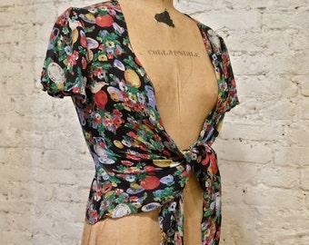 80s Floral Tie Blouse
