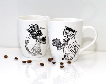 His and hers mugs Mr and Mrs cat mugs His and Hers Cat wedding cat mugs Wedding gift for couple and cat Cups for couples Bridal shower gift