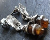 baltic amber and raw silver earrings, raw silver stud earrings, baltic raw amber stud earrings