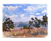 """Watercolor Landscape, Landscape Painting, Watercolor Art, Blue Sky, Fluffy Clouds, Watercolor Sketch, Small Painting, Small Landscape, 5""""x7"""""""