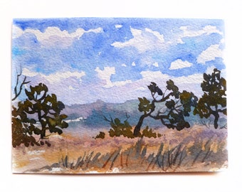 "Watercolor Landscape, Landscape Painting, Watercolor Art, Blue Sky, Fluffy Clouds, Watercolor Sketch, Small Painting, Small Landscape, 5""x7"""
