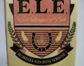 Evil League of Evil ELE Hand Wood Burned Plaque Doctor Dr Horrible Pyrography Woodburning