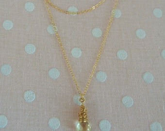 Wire Wrapped Lemon Quartz Gemstone Two Strand Layered Necklace Gold Filled