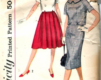 """Vintage 1958 Simplicity 2836 Misses Two Piece Dress with Two Skirts Sewing Pattern Size 12 Bust 32"""""""