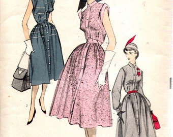 """Vintage 1950's Advance 5849 One-Piece Dress with Neck and Sleeve Variations Sewing Pattern Size 14 Bust 32"""""""