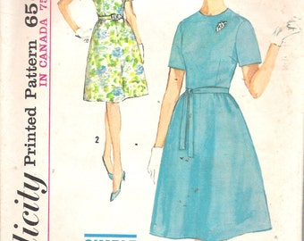 Vintage 1963 Simplicity 5265 Misses' One-Piece Dress in Half Sizes Sewing Pattern Size 12 1/2 Bust 33""