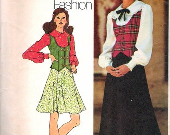 """Vintage 1972 Simplicity 5297 Young Contemporary Fashion Retro Skirt in Two Lengths, Blouse & Vest Sewing Pattern Size 16 Bust 38"""" UNCUT"""