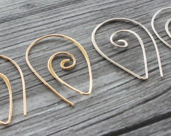 Sterling Silver or Bronze Teardrop Spiral, Coil Earrings, Wire Earrings, Minimal Modern Simple Handmade Jewellery