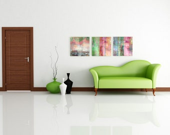 3 square abstract art prints on canvas - ready to hang art - Wedding gift