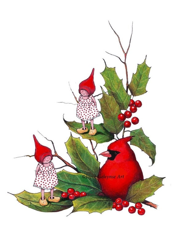 Christmas Clipart Gnomes With Cardinal Bird Holly Leaves