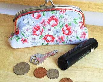 Change purse made from a vintage handkerchief with silver kiss lock