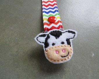 Pacifier Leash Paci Clip - Cow Feltie Metal Pacifier Clip