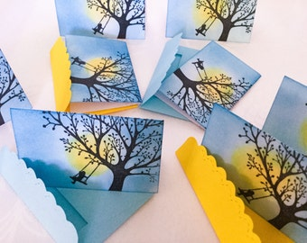 Hand made mini cards: Stamin Up cards, Girl on a tree swing, Silhouettes, mini cards , mini Envelopes - mini notes - bonsai mini cards