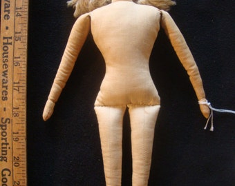 """Vintage: 12"""" Cloth girl w/hand sewn facial features, no clothes, leather shoes"""