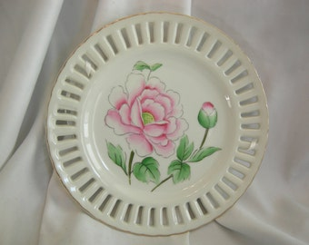 Peony Motif Reticulated Plate | Made in Japan | Vintage