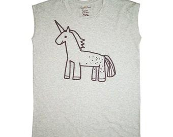 Baby Unicorn Tank Top Unicorn Tshirt Women Tank Top Cartoon Drawing Tshirt Women T shirt Funny Tshirt M