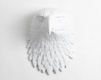 The Phoenix, Large White Resin American Bald Eagle Head Wall Sculpture, Resin Bird by White Faux Taxidermy Chic Wall Hanging Bird Ornaments
