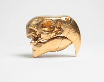 OVERSTOCK SALE - Gold Parrot Skull Table Top Decor
