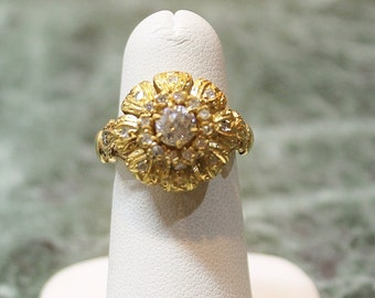 Gold and Diamond ring 1.26 carat total European