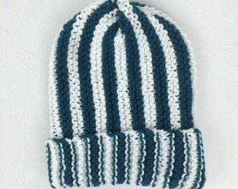 Perfectly Striped Teal and White Slouchy Beanie