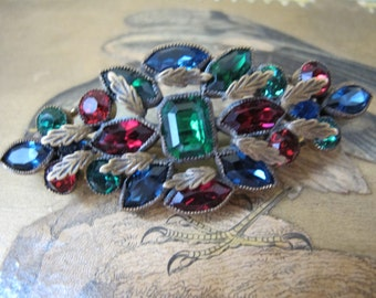 ART DECO CZECH Stone Encrusted Brooch. Gilt Leaves Red Blue n Green Gem Toned Fine Crystal Stones. Czech Costume Fashion Jewelry. Collar Pin