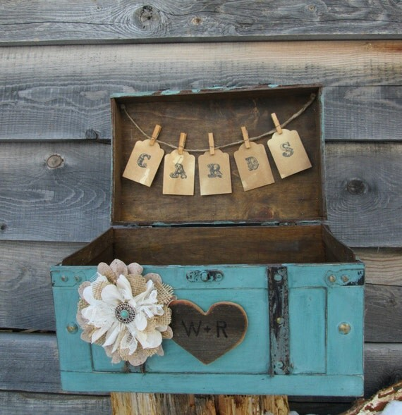 Vintage Wedding Gift Card Holder : ... Vintage Card Holder - Turquoise Card Box -Wedding Trunk- Gift Table