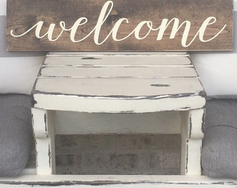 Welcome Wood Sign - Foyer Decor - Rustic Home Decor - Rustic Sign - Wooden Sign - Farmhouse Decor - Welcome Sign - Welcome Wooden Sign